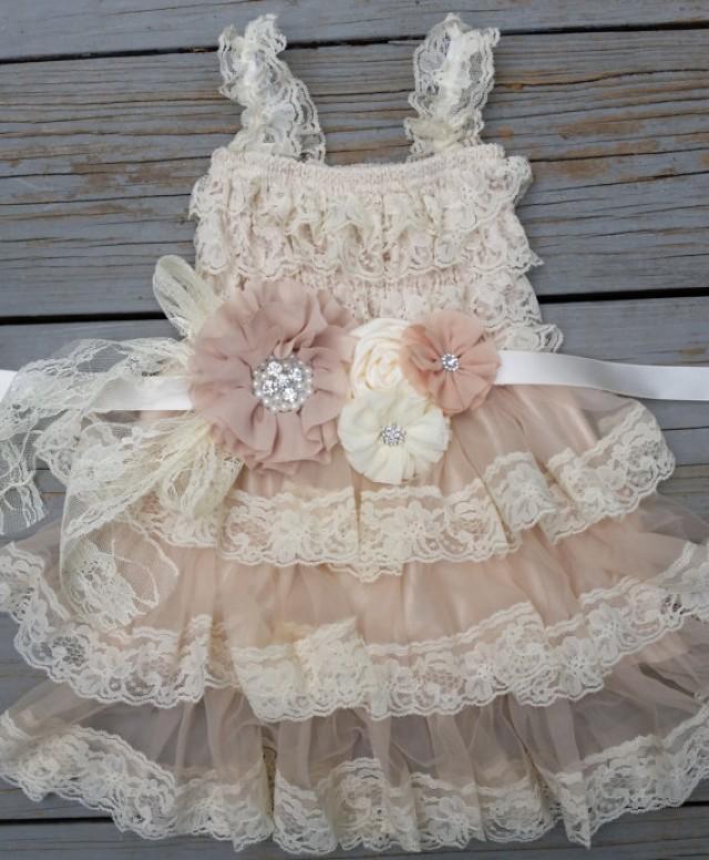Lace Flower Girl Dress Champagne Flower Girl Dress Shabby