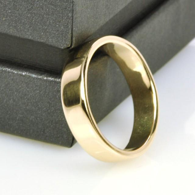 Mens Yellow Gold Wedding Band 14K Gold 5mm Wide Ring Handmade