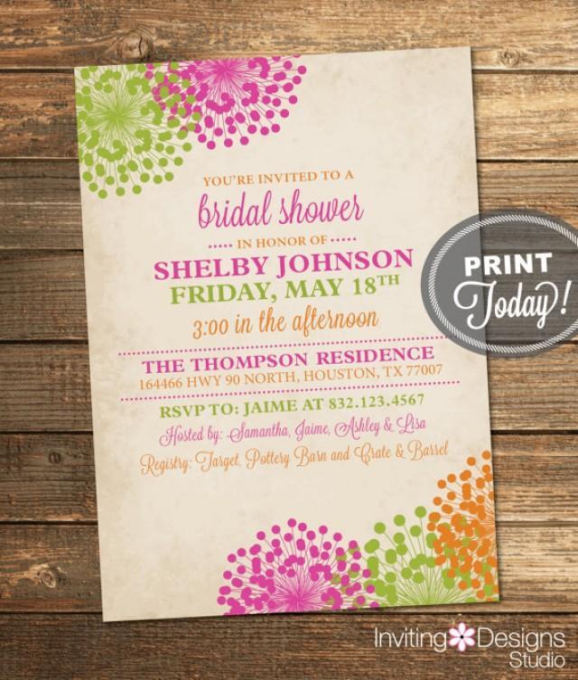 Wedding Shower Invitation, Vintage Bridal Shower, Floral, Pink ...