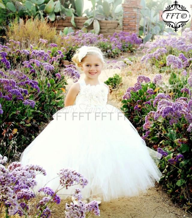 Ivory Lace Flower Girl Dress White, Rustic, Tulle, Country ...