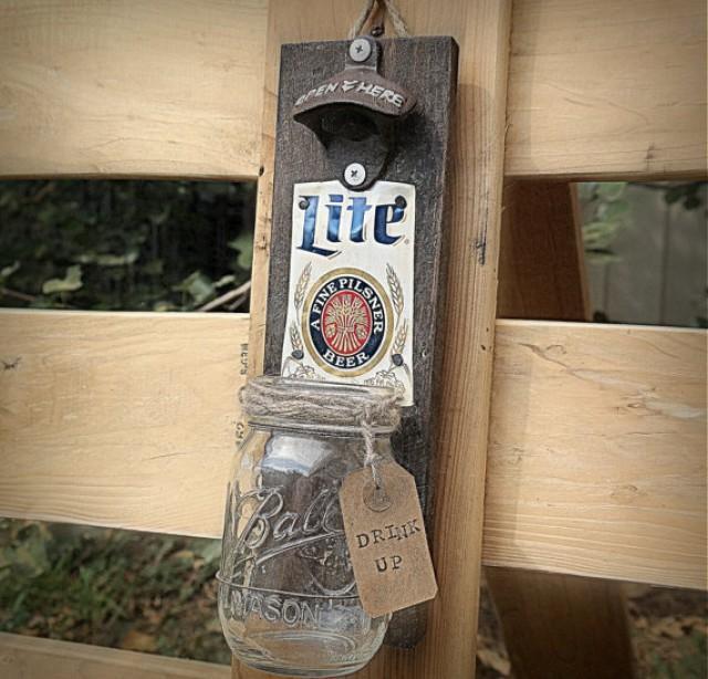Rustic Pallet Wood Beer Bottle Opener Cap Catcher
