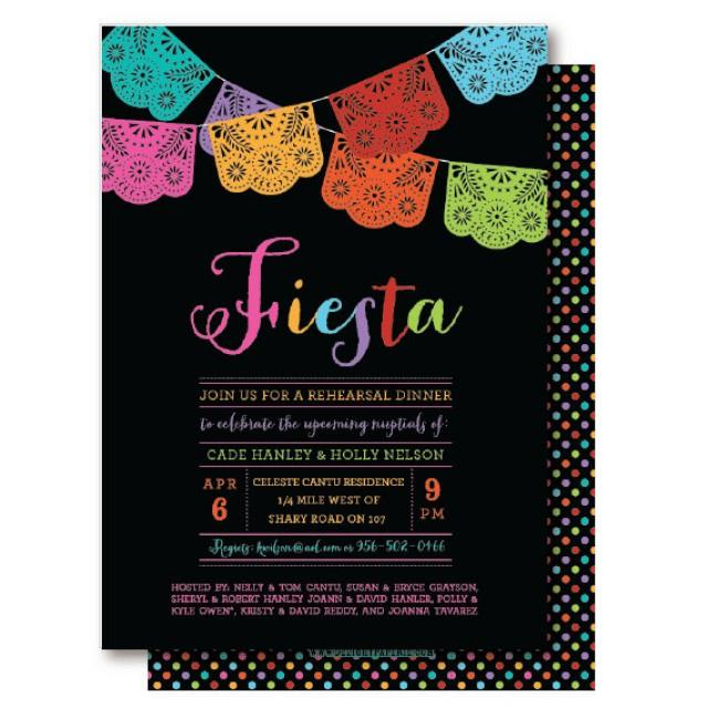 Papel Picado Mexican Themed Party Rehearsal Dinner Invitation