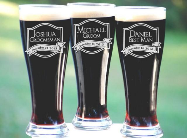 Wedding Party Gift Ideas Groomsmen: Best Groomsmen Gifts, 6 Personalized Beer Glasses, Unique