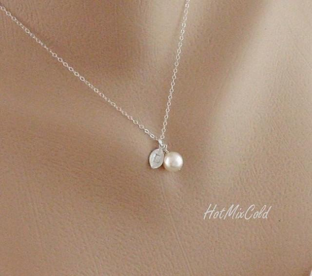 Silver Monogram Pendant Necklace Pearl Initial Leaf Charm Jewelry Child Simple Bridesmaid Flower Gift 2219791 Weddbook
