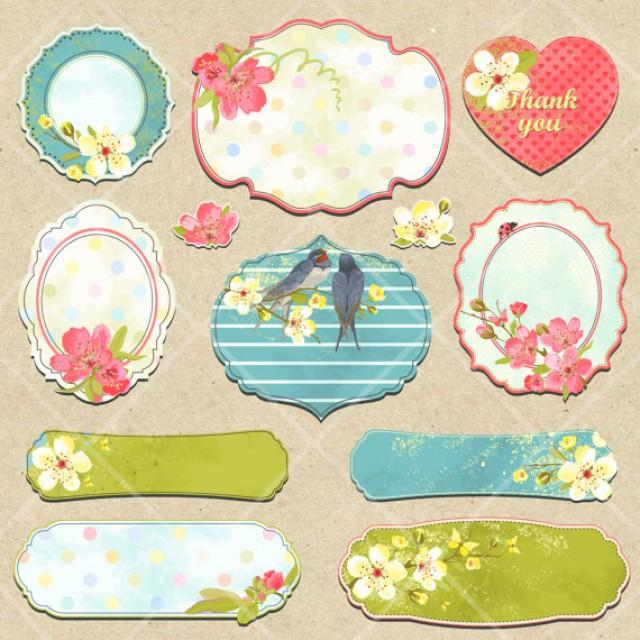 Instant Download Digital Spring Summer Flower Tags Labels