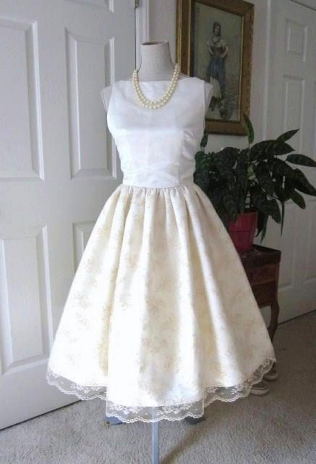 Wedding dress 1960s inspired satin lace classic bridal for Audrey hepburn inspired wedding dress