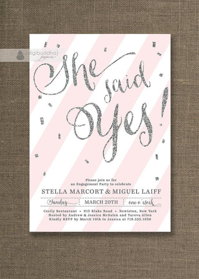 Silver Glitter Engagement Party Invitation She Said Yes Stripes ...