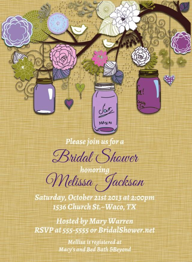 Vintage Mason Jar Invitations Purple Green Invitation Mason Jars