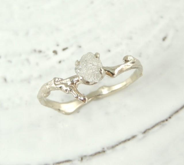 Uncut Diamond Branch Engagement Ring Handmade Diamond Engagement