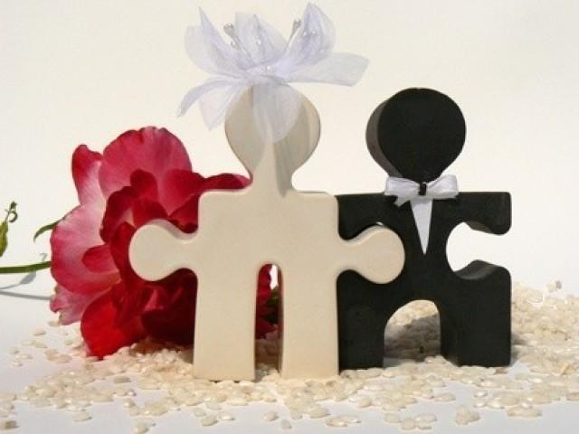 Wedding Cake Topper Salt And Pepper Puzzle People Together