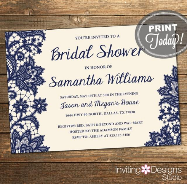 Navy Blue And Ivory Wedding Invitations: Wedding Shower Invitation, Bridal Shower Invitation, Lace