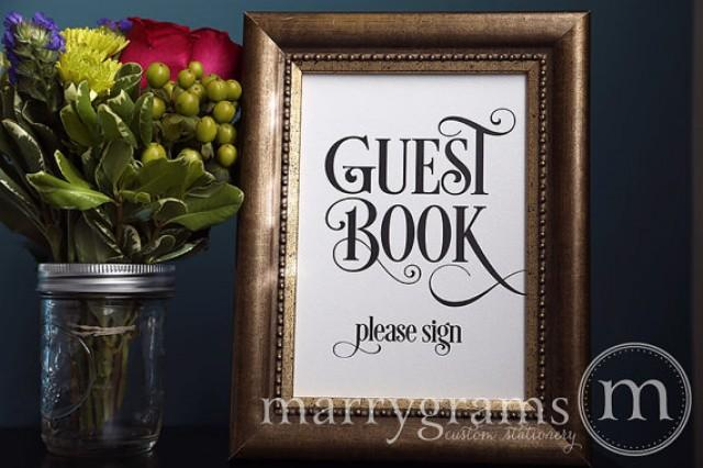 guest book table card sign - please sign - wedding reception seating signage