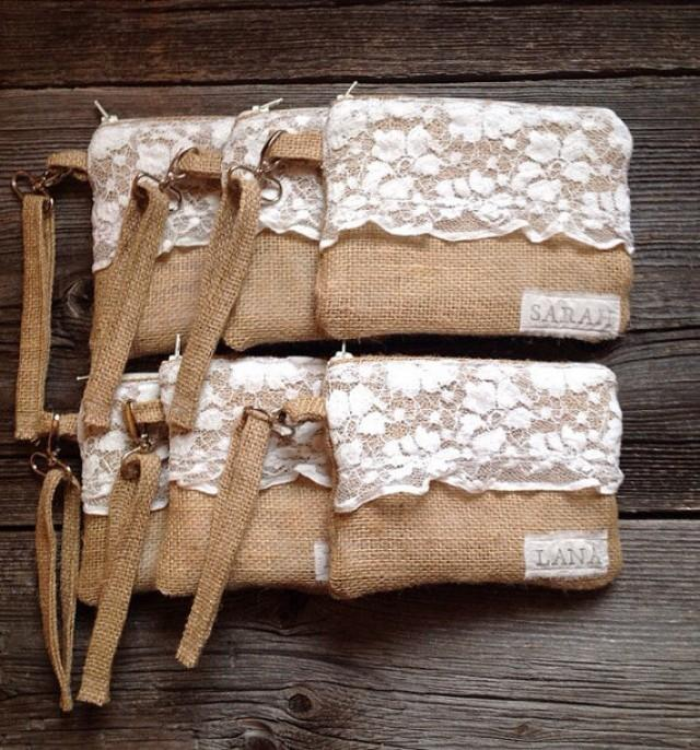 Country Wedding Gift Ideas: 6 Burlap And Lace Wristlets, Personalized Clutches