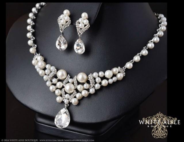 Pearl Bridal Statement Necklace Wedding Jewelry Set Back