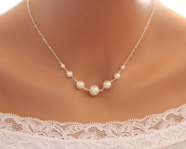 elegant pearl necklace   sterling silver wedding bridal