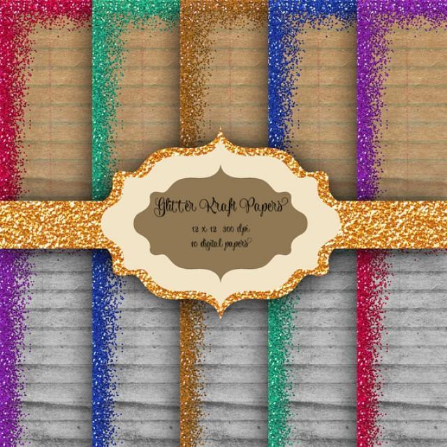 Glitter Border Digital Paper Pack Glitter Pattern Kraft