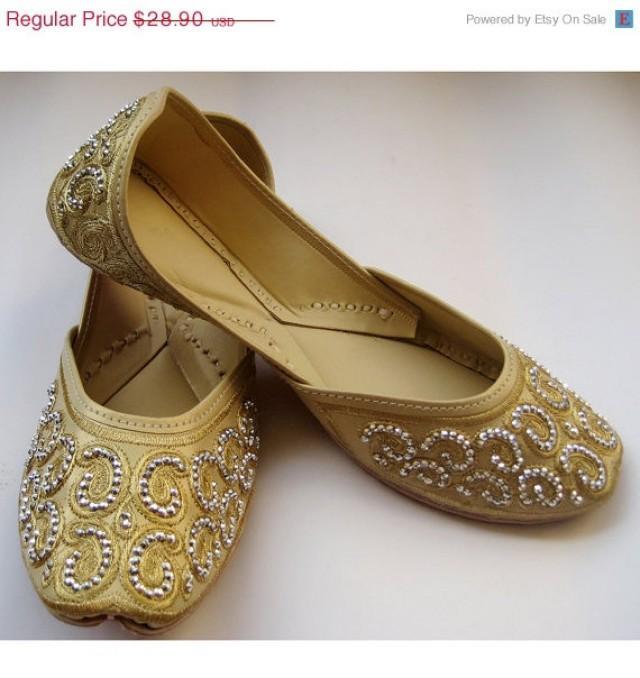 e6963c51d80b7 VALENTINE DAY SALE 20% Us Size 9 - Gold Sequin Bridal Ballet Flats ...