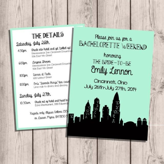 Personalized Skyline Wedding Invitations: Cincinatti Skyline Bachelorette Party Invitation, Custom