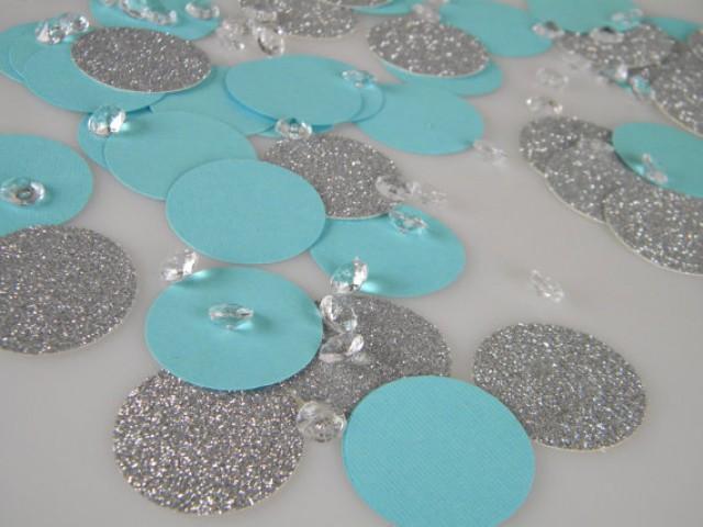 Silver Glitter Amp Aqua Turquoise Blue Confetti Decorations