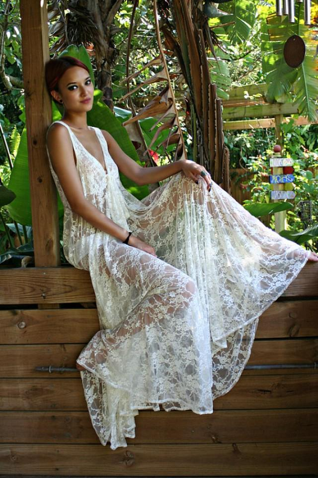 bridal lingerie sheer lace nightgown tie front waterfall gow