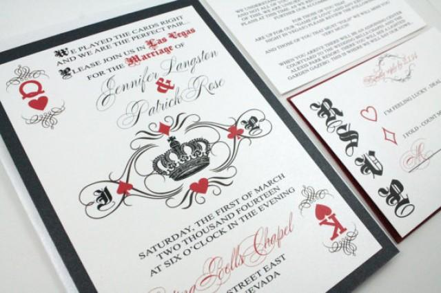 Las Vegas Wedding Invitation Wording: Las Vegas Casino Playing Card Royal King And Queen Of
