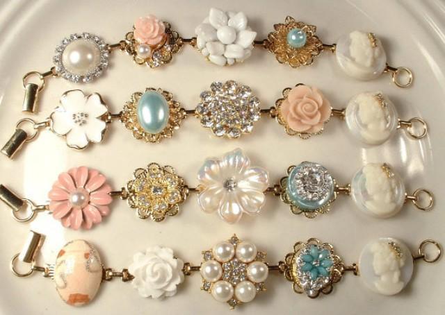 Vintage Ivory Peach Coral Aqua Mint Pearl Amp Rhinestone