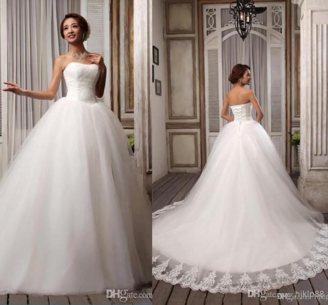 Wedding Ball Gowns 2014: Hot Sell Elegant Popular Ribbons Strapless White