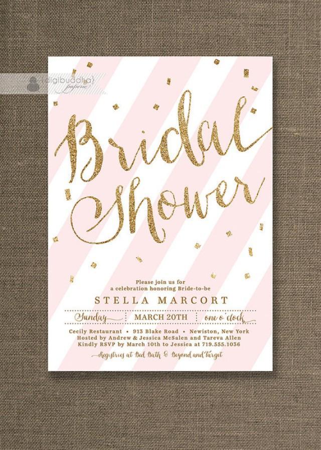 Gold Glitter Bridal Shower Invitation Pink Amp White Stripes