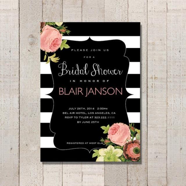 bridal shower invitation vintage inspired black and white sh