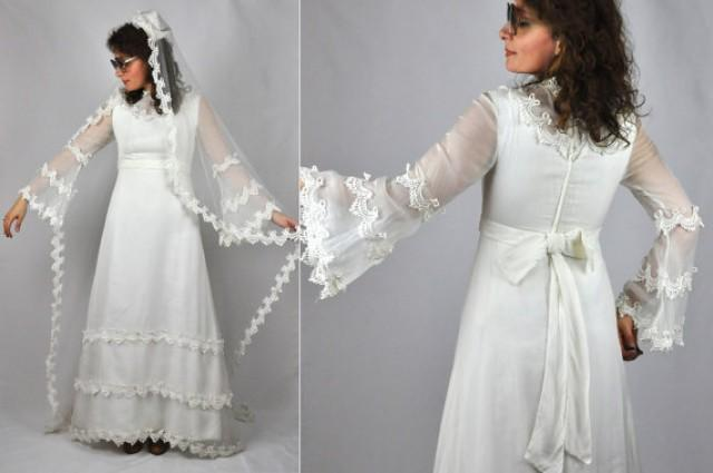 60s LACE Wedding Dress Bell Sleeves Long Lace Net VEIL