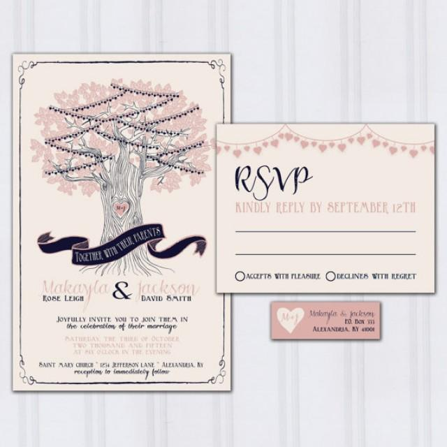 String Light Wedding Invitations, Tree Wedding Invites