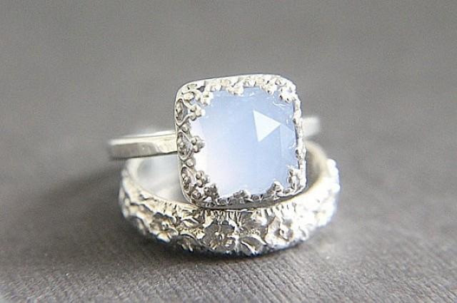 Sale Vintage Style Chalcedony Wedding Ring Set Eco