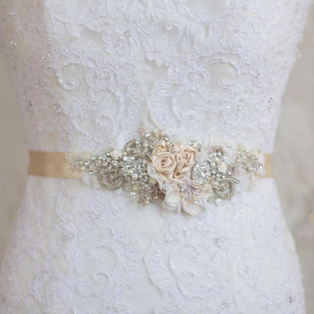 Unique Wedding Dress Sashes Belts: Champagne Belt Sash, Floral Belt Sash, Lace Belt Sash