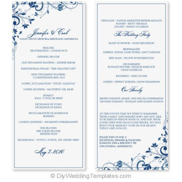 wedding program template - instant download
