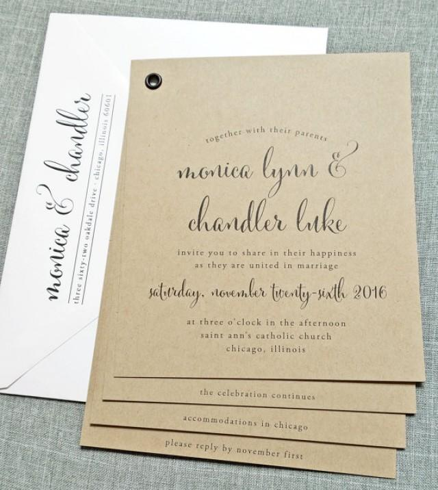 Rustic Wedding Invitation Fonts: Monica Kraft Booklet Wedding Invitation Sample