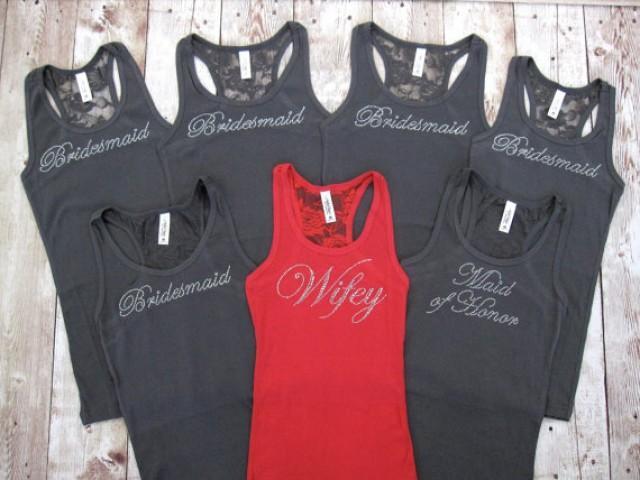 Wedding T Shirt Ideas: 7 Bridesmaid Tank Tops. Bridesmaid Shirts. Bride, Maid Of