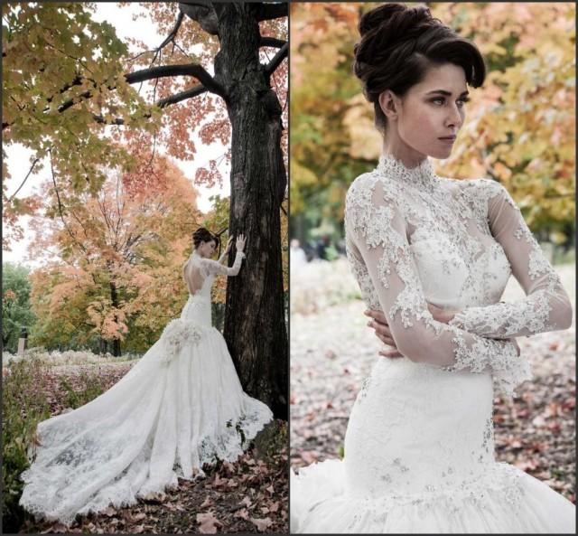Best Wedding Gowns 2015: Winter Long Sleeve Hollow Beads Lace Wedding Dresses High