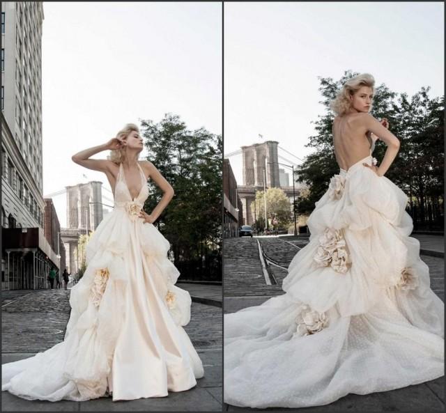 2015 Blush Backless Wedding Dresses Handmade Flower Deep V