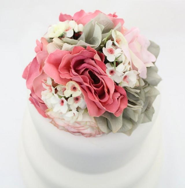 Flower Cake Toppers For Weddings: Pink Rose, Gray Hydrangea Silk
