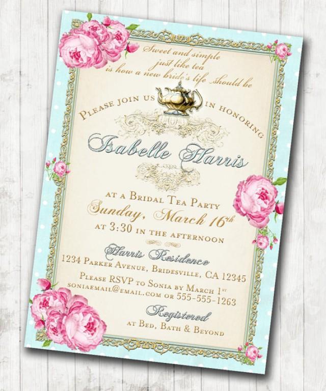 Tea Party Bridal Shower Tea Party Invitation Floral