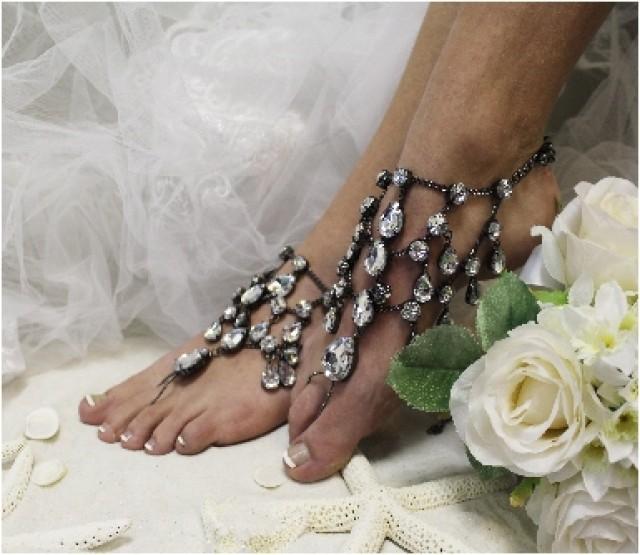 Midnight Barefoot Sandals Sj5 Chandelier Shoe Jewels