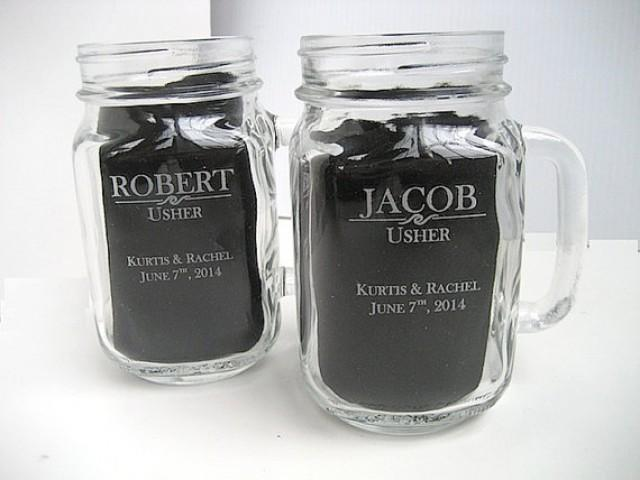 Engraved Wedding Party Gifts: Engraved Mason Jar With Handle