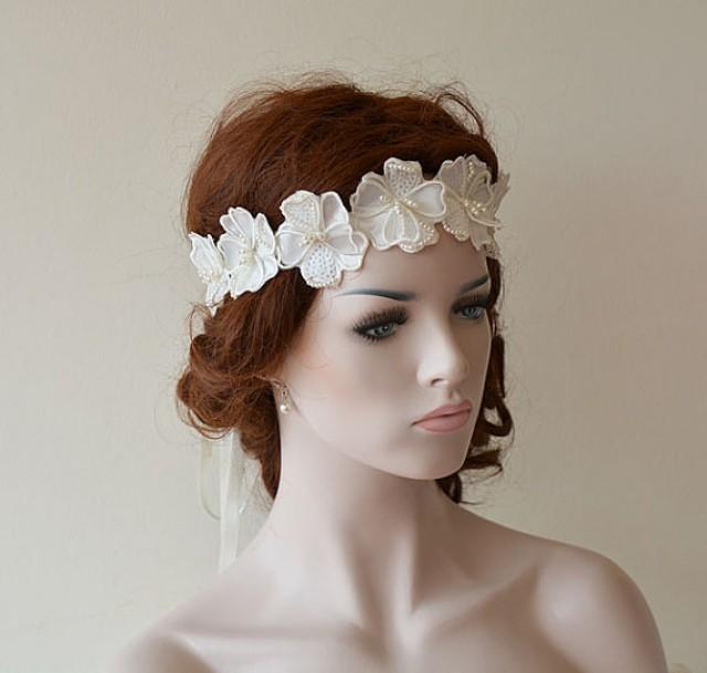 Wedding Headband, Wedding Pearl Flower Headband, Bridal