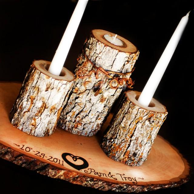 unity candle set with tree slice and charms