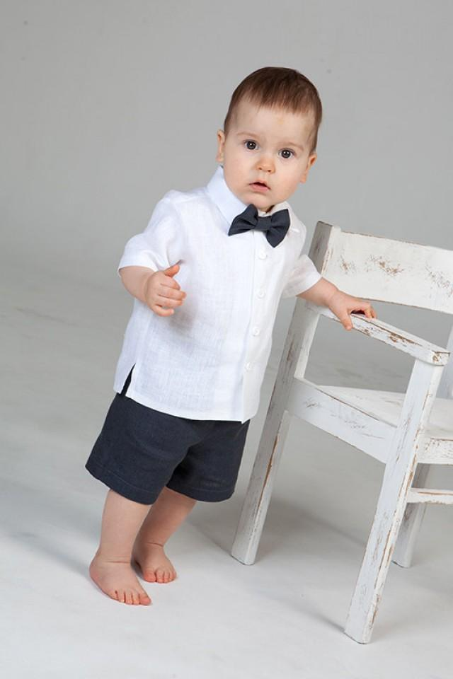 Baby Boy Wedding Ring Bearer Outfit Boy Linen Suit Baptism