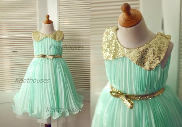Mint blue chiffon gold sequin peter pan collar tulle for Mint and gold wedding dress