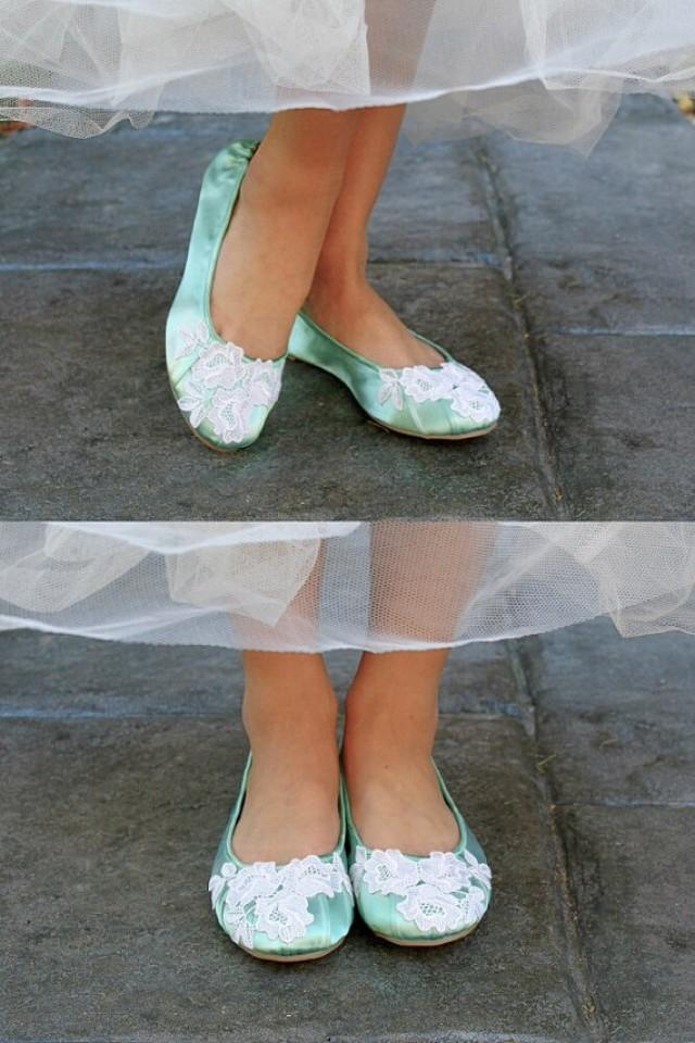 Wedding Ballet Flats Low Heel Bridal Shoes Embellished With Floral Ivory Venice Lace 2230855