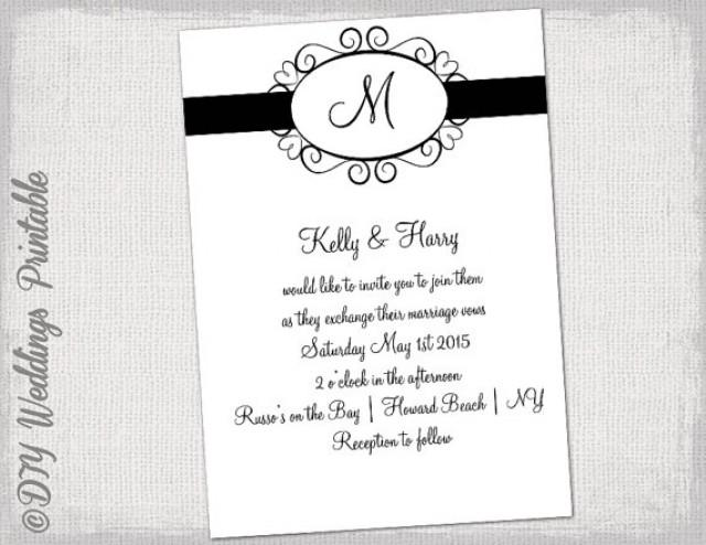 "Wedding Invitations Template Word: Wedding Invitation Template Black And White ""Hearts"