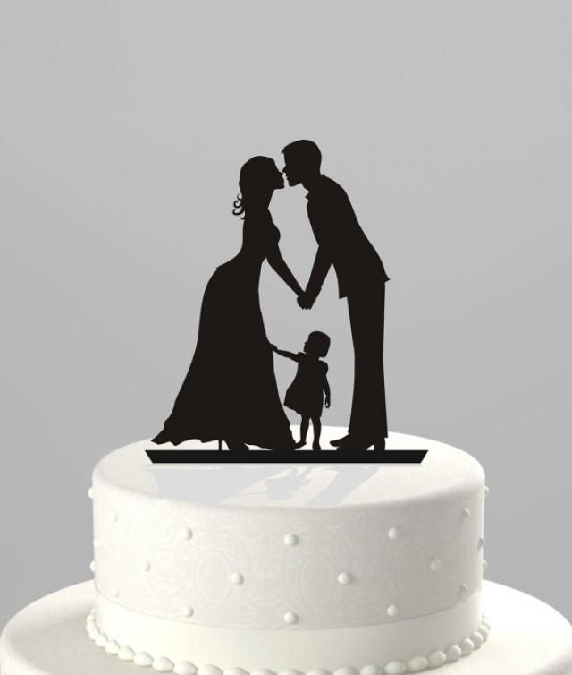 Bride And Groom Only Wedding Ideas: Wedding Cake Topper Silhouette Groom And Bride With Little