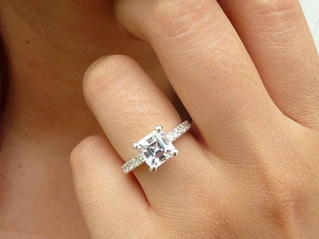 Sterling Silver Engagement Ring Asscher Cut Engagement